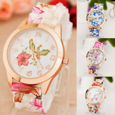 Women Silicone Rubber Wrist Watch Flower Pattern For Adult Girls Kids Gift