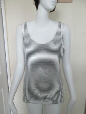 H&M - WHITE/BLACK STRIPED CREW NECK SLEEVELESS VEST Top size M - COTTON BLEND