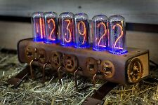 """Unique In-18 Nixie Clock with 6 tubes Handmade Steampunk 