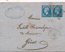 Lettre n°22x2 Mulhouse Bas-Rhin pour Gènes Bureau de passe cover