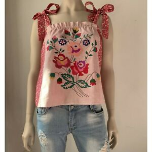 Hand Embroidered Cotton Top Tank Boho Prairie Gypsy Johnny Was style Cottagecore
