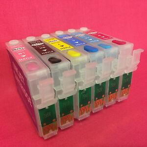 6 REFILLABLE EMPTY ARC RESET INK CARTRIDGES FOR EPSON STYLUS PHOTO R1400 R1500W
