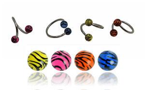 "4 Pc Tiger Print Eyebrow Twists Ear Lip Belly Navel Zebra Print 16ga 3/8"""
