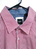 Boss Hugo Boss Regular Fit Mens XL Red White Fine Plaid Check Button Up Shirt