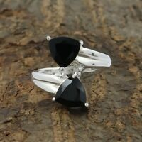Natural Black Onyx Ring - 925 Solid Sterling Silver Handmade Ring Size 8