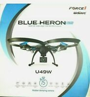 Force1 U49W Blue Heron Wi-Fi FPV Drone w/ Camera Live Video Altitude Hold 30min