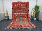 "Moroccan Handmade Vintage Rug 5'x8'9"" Berber Geometric Red Yellow Wool Carpet"