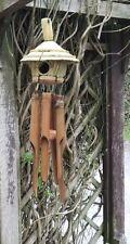 Carillón de Viento Pájaro Casa naturales de bambú & Coco Windchime, carillón de viento