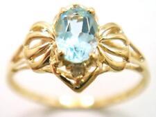 SYJEWELLERY 9CT YELLOW GOLD NATURAL BLUE TOPAZ & DIAMOND RING    R1060