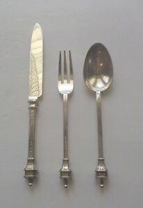 English Sterling Silver Serving Traveling Flatware Set - Knife, Fork & Spoon