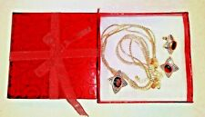 Avon Necklace Pendant and Earrings Multi Strand Necklace Silver Tone Chain BOXED