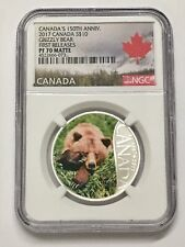 2017 $10 CANADA 150TH ANNIV. SILVER  NGC PF 70 MATTE GRIZZLY BEAR FIRST RELEASES