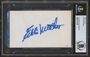 Braves Eddie Mathews Authentic Signed 3x5 Index Card Autographed BAS Slabbed