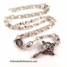 Miraculous Medal White Magnesite Unbreakable Rosary Beads w Nail Crucifix