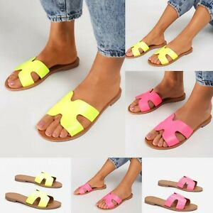 WOMENS FLATS SUMMER SANDALS SLIDES SLIP ON SLIDERS CASUAL HOLIDAY SHOES ALL SIZE