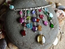 Necklace silver 925, opal, garnet, tourmaline, quartz lemon, apatite
