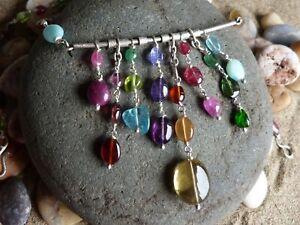 Collier argent 925, opale, grenat, tourmaline, quartz lémon, apatite