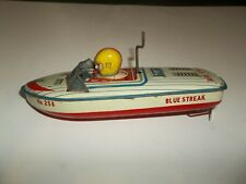 "Vintage Daiya Japan 8"" Blue Streak Tin Windup Friction Toy Boat Speed Racer!"