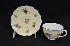 Coalport Cup & Saucer Multi Color Floral Cream Background Blue Trim