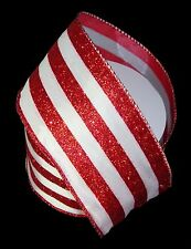 """Wired Ribbon Christmas Craft White & Red Glitter Wide Stripes 2.5"""" x 10 yards"""
