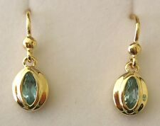 SOLID 9ct YELLOW Gold  NATURAL BLUE  TOPAZ  EARRINGS