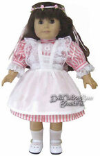 Victorian Era Dress + Lacy Pinafore + Circlet for American Girl Doll Clothes