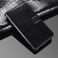 (Black )Premium PU Leather Flip Case Wallet Stand Cover For Various Phone Models