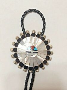 Sterling Silver Zuni Handmade Mother of Pearl Full Sun Face Tips Round Bolo Tie