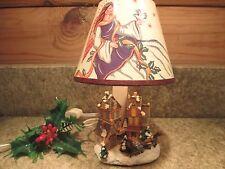 "Christmas Village Resin 8"" MINI TABLE LAMP LIGHT w/ Angel Shade"