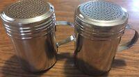 2 pack DREDGE w/Handle Salt Pepper Spice Sugar Shaker Dispenser Stainless