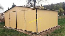 Blechgarage 5x6 Blechhalle Schuppe Lager Fertiggarage 4Kantprofil RAL1002+Aufbau