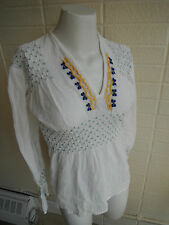 Vintage '70's hippie boho hand woven cotton India with embroidery & smocking s