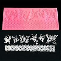 Silicone Lace Butterfly Fondant Lace Mould Cake Decor Baking Sugarcraft Mat QK