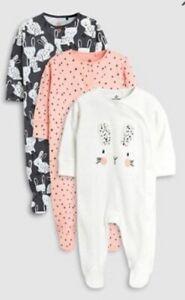 Girls sleepsuit babygrow NXT cotton romper outfit rabbit bunnies pink