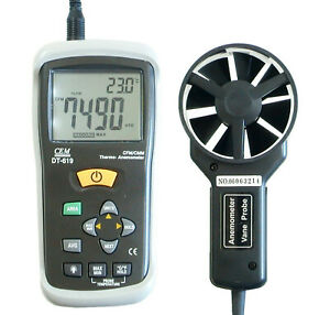 CEM DT-619 Thermo Anemometer Vane Wind Speed CFM CMM Air Flow Temperature Meter