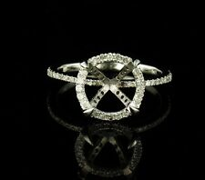 NATURAL ROUND DIAMOND HALO SOLID WHITE GOLD SEMI MOUNT ENGAGEMENT MOUNTING RING