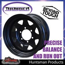 15x8 6 Stud Black Thunder Steel Wheel Rim. 0 Offset. 6/139.7 suits Toyota patrol