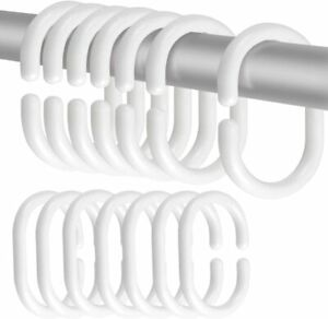 12 x Shower Curtain Rings Curtain C Rings Hook Hanger Bath Drape Loop Clip Glide