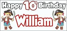 Boy Pirate 10th Birthday Banner x 2 - Party Decorations - Personalised ANY NAME