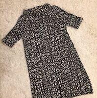 J Crew Collection 100% Wool Shift Black& Ecru Dress Chain Design Cowl Neck SizeS