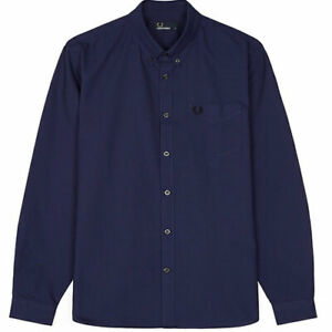 Fred Perry M3551 Oxford Long Sleeve Shirt,Victoria Blue,Mod,Soul,Ska,Scooter