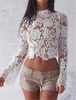 Women Floral Lace Crochet Long Sleeve Short Summer Top Blouse