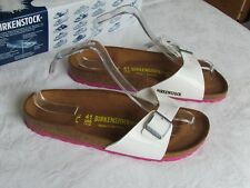 NEW Birkenstock Madrid Ladies White & Pink Mules Sandals UK Size 7.5 EU 41