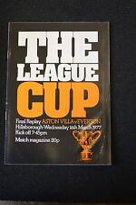 Aston Villa Vs Everton Legue Cup Final Replay 16-03-77  Program (P192)