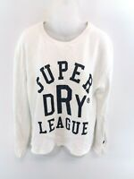 SUPERDRY Womens Jumper Sweater S Small White Cotton Oversize
