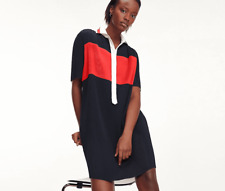 Tommy Hilfiger Multi Everyday Frances Red Pleated Polo Casual Midi Dress UK 6 34