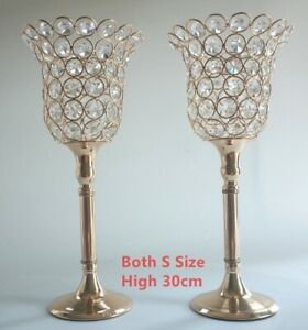 2PCS /Pair Crystal Metal Candle Holder Decoration Home Dining Table Candlelight