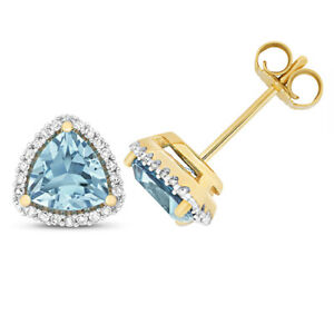 9ct Yellow Gold Blue Topaz Trillion Cut and Diamond Stud Earrings (ed256bt)