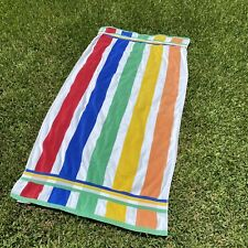 """The Painted Beach Striped Multi Color Rainbow Pool Beach Towel Cotton 31""""Wx 64""""L"""