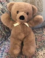 "1990 Dakin CUDDLES Brown TEDDY BEAR 18"" Plush Yellow Gold Ribbon Vintage #Z6"